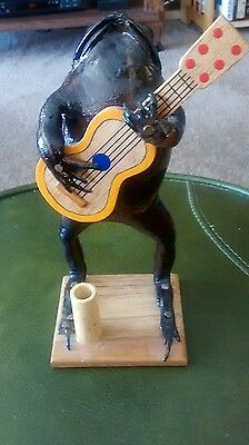 Taxidermy Frog  On   Wooden Stand Playing A Guitar