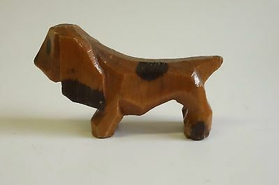 Vintage Old Carved Wood Miniature Folk Art Spaniel Dog Figure
