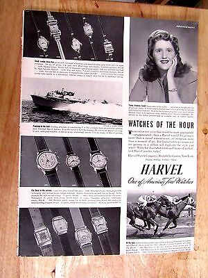 1940s HARVEL WATCH 10 x 14 inch Print Ad