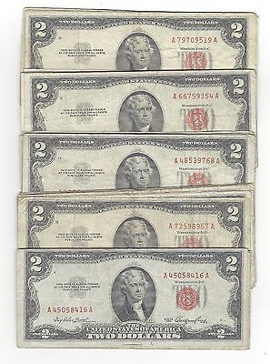 Lot of 50- 1953 & 1963 United States Two Dollar Red Seal Note / Bills Circulated