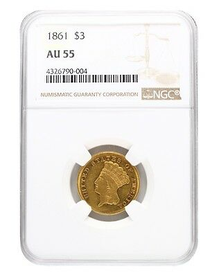 1861 NGC AU55 $3 Princess Head Three Dollar
