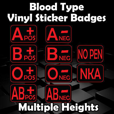 Blood Type Stickers - Multiple Sizes - Black - Red | Military | Airsoft | Helmet