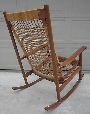 Hans Olsen for Dux cane teak rocking chair Danish Modern Wegner style