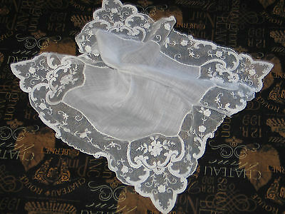ELABORATE VTG Antique Needle Run Embroidery Net Lace Handkerchief Hanky~Bridal