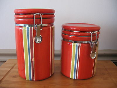 RARE Certified International JILL ROSENWALD striped wire clamp seal canisters 2