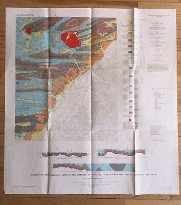 Vintage 1964 US Geological Map Garland Hot Springs County AR Geology Survey