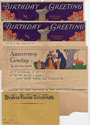 Unused W. Union Telegraph Envelope and Vintage Birthday & Anniversary Telegrams