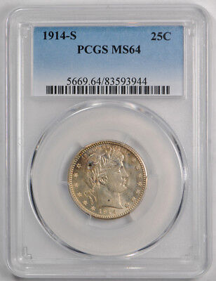 1914-S 25C Barber Quarter PCGS MS 64 Uncirculated Exceptional Strike