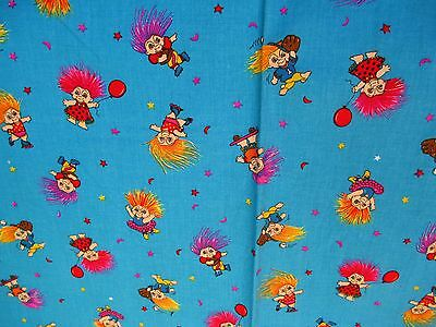 Troll Doll Fabric Cotton 1 yard by 44 inches Vintage out of print New old stock