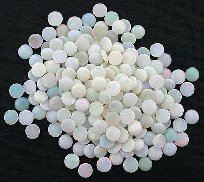Two 5mm Round Australian Opal Natural Low Dome Cab Cabochon Gem Gemstone EBS4840