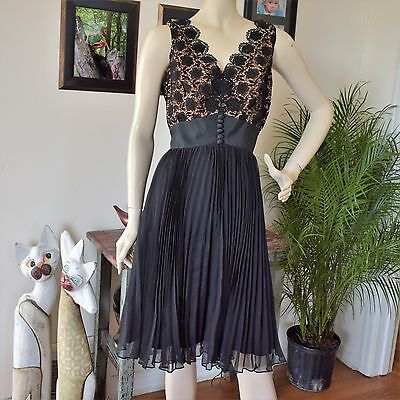 Vintage 60s Illusion Lace Accordian Pleated Chiffon Party Dress Rockabilly M/L
