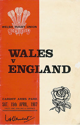 WALES v ENGLAND 1967 RUGBY PROGRAMME 15 Apr at CARDIFF KEITH JARRETT MATCH