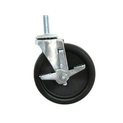 """(Two)Clearance Stem Casters with 5"""" Polyolefin Wheel & 1/2"""" Threaded Stem"""
