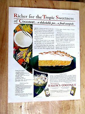 1929 BAKERS COCONUT ad art 10 x 14 inch Print Ad