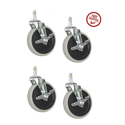 """(Four)Clearance Swivel Caster with 5"""" Rubber Wheel, Brake & 7/16"""" Grip Stem"""