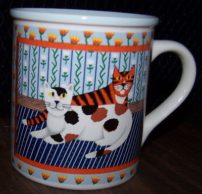 KRISTEN CHIARA  CAT  KITTEN Tabby Calico Lounging kitties COFFEE MUG