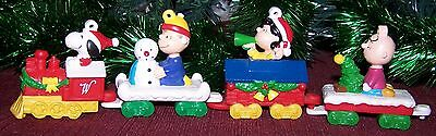 Snoopy Christmas Train Ornament Charlie Lucy Linus Peanuts Whitman Set of 4