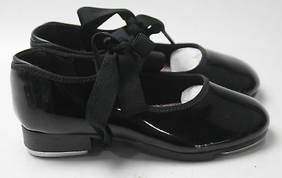 New With Box Girl's CAPEZIO Black Tap Shoes Size 8W