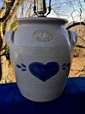 Antique Primitive Blue Heart CROCK VASE Pottery Butter Churn Spongeware LAMP