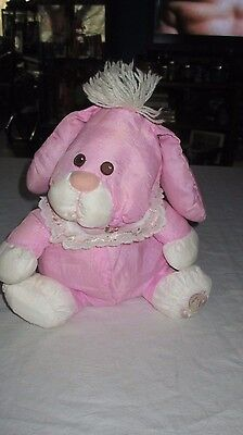 "Fisher-Price Puffalump Pink Bunny Plush Lace Collar 10"" Easter Rabbit Rare Color"