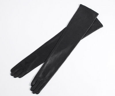 "66cm(26.0"") real lambskin leather shoulder evening party long gloves black"