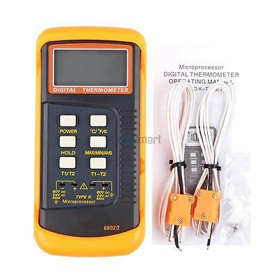 Dual 2 Channel K-Type Digital Thermometer Thermocouple Sensor Detector 2372°F US
