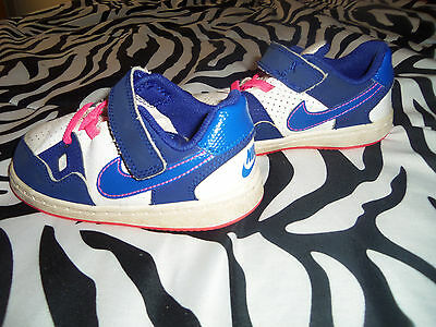 Nike  Air Force 1 Leather White, Blue & Pink Toddler Girls  7C Shoes