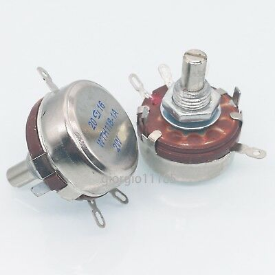 US Stock 2x 2.2K ohm 2W 6mm Round Shaft Rotary Taper Carbon Potentiometer WTH118