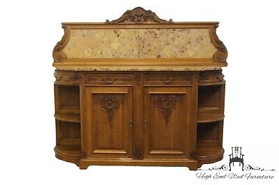 Antique 1920's Ornate Marble Top Louis XVI French 79″ Buffet / Sideboard