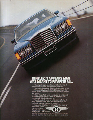 It appears man was meant to fly Bentley ad 1987