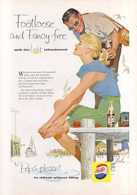 Pepsi Footloose and Fancy-free summer harbor ad 1958