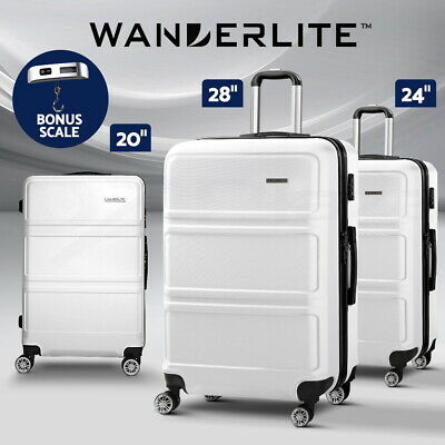 Wanderlite Luggage Sets 3pc Carry On Suitcase TSA White Hard Case Lightweight