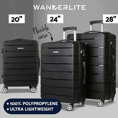 Wanderlite 3pc Luggage Sets Suitcases Set TSA Travel Hard Case Lightweight Black