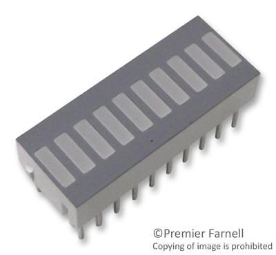LED Bar Graph Array, Red, 20 mA, 1.8 V, 5.2 mcd, 10 LEDs, 25.4mm x 10.16mm