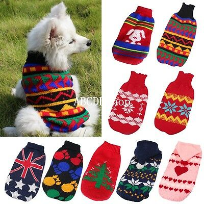 Dog Pet Puppy Warm Clothes Coats Apparel Jumper Sweater Knitwear Hoodie Costume