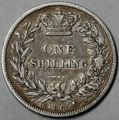 1865 Unlisted Shilling DIE No 1 Victoria  Silver GREAT BRITAIN Coin (16062603R)