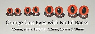 ORANGE CATS Crystal Eyes - METAL BACKS -Traditional Teddy Bear Toy Doll Safety