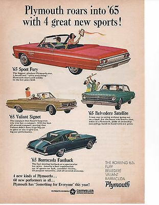 1965 Plymouth Fury / Valiant / Belvedere / Barracuda  ~  Original Muscle Car Ad