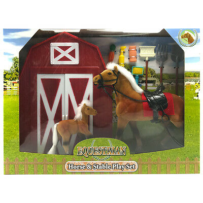 Equestrian Horse & Stable Pony Model Figure Play Set Toy (White Mane)