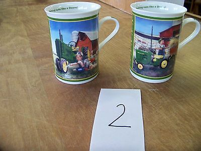 """2 John Deere Little Farmhands Collector Mugs """"Clean and Shiny & Pitching In"""""""