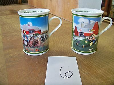 "2 John Deere Little Farmhands Collector Mugs ""Too busy to play & Little handyman"