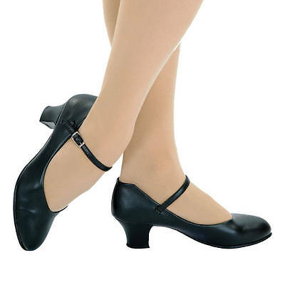 """NWT Capezio 550X Jr Footlight 1.5"""" Heel Character Shoes in BLACK Child 2.5M"""
