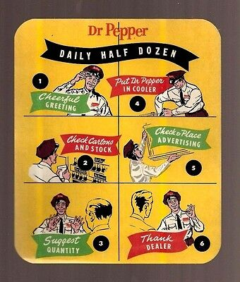 Vintage DR PEPPER DAILY HALF DOZEN Delivery Man Label Sticker Decal Ad Sign Pop
