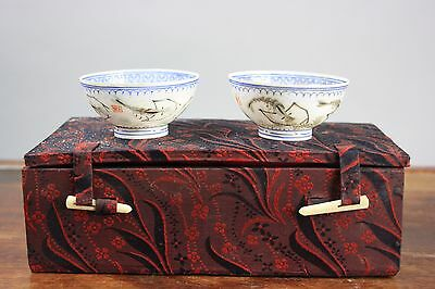 20th C. Chinese Pair EggShell 'Shrimps' Blue And White Wine Cups