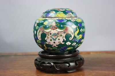 Daming Marked Chinese Small Cloisonné Enamel Covered Tripod Censer w Wood Stand