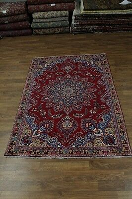 Stunning Hand Knotted Semi Antique Sabzevar Persian Rug Oriental Area Carpet 6x9