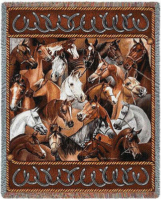 Throw Tapestry Afghan - Bridled Horses 1216