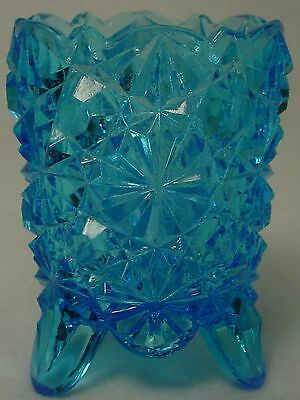 DEGENHART GLASS crystal DAISY & BUTTON Blue 3-TOED TOOTHPICK