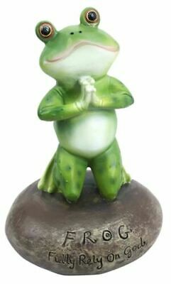 Inspirational Cute Praying Frog On Rock Statue Novelty Collectible Frog Figurine