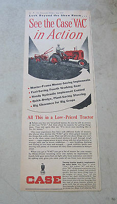 """1948 J.I. Case Co. Racine, Wis. Case Model """"VAC"""" Tractor large 1/2 page ad"""